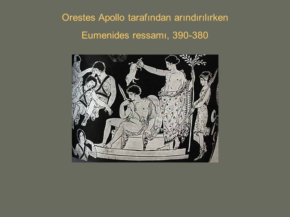 Orestes Apollo tarafından arındırılırken Eumenides ressamı, 390-380
