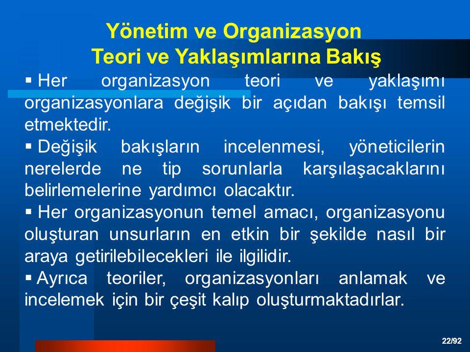 Yönetim ve Organizasyon Teori ve Yaklaşımlarına Bakış