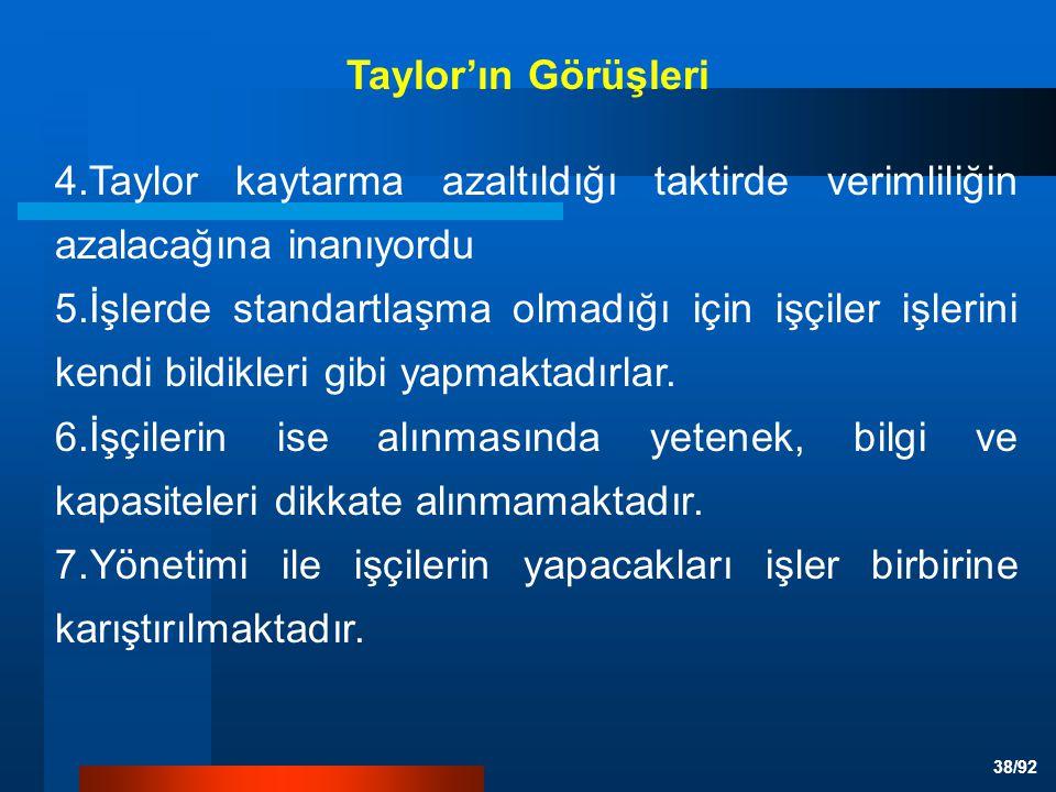 Taylor'ın Görüşleri 4.Taylor kaytarma azaltıldığı taktirde verimliliğin azalacağına inanıyordu.