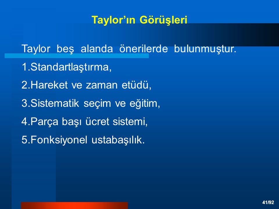 Taylor'ın Görüşleri Taylor beş alanda önerilerde bulunmuştur. 1.Standartlaştırma, 2.Hareket ve zaman etüdü,
