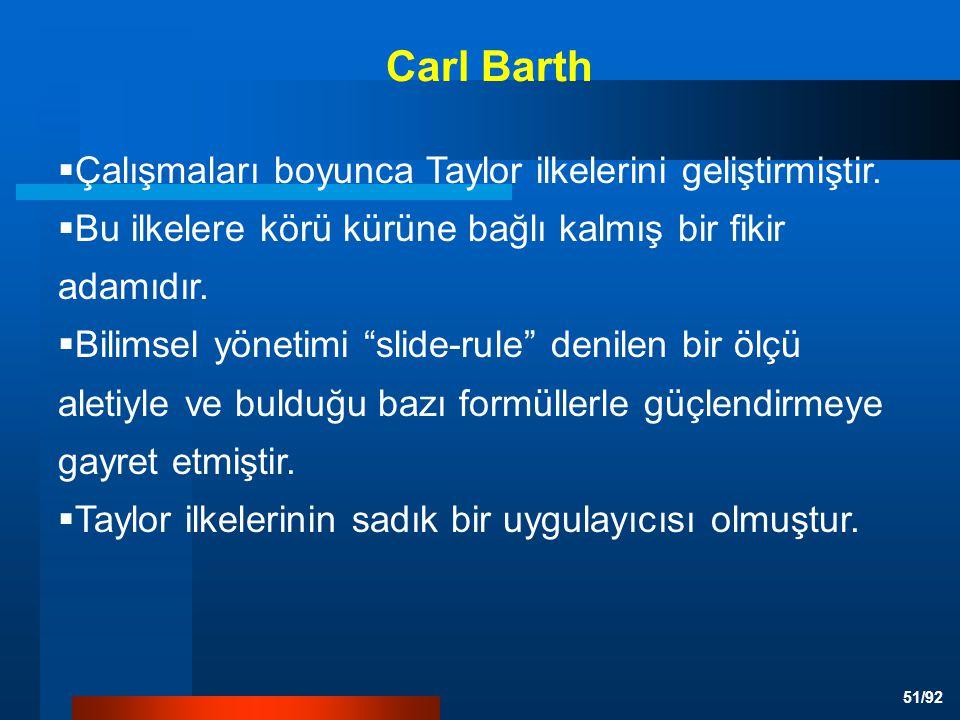 Carl Barth Çalışmaları boyunca Taylor ilkelerini geliştirmiştir.