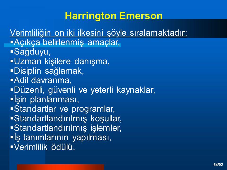 Harrington Emerson Verimliliğin on iki ilkesini şöyle sıralamaktadır: