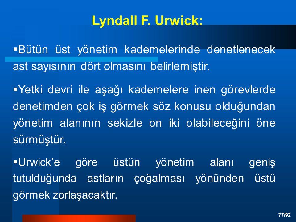 Lyndall F. Urwick: Bütün üst yönetim kademelerinde denetlenecek ast sayısının dört olmasını belirlemiştir.