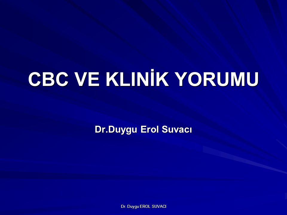 CBC VE KLINİK YORUMU Dr.Duygu Erol Suvacı Dr. Duygu EROL SUVACI