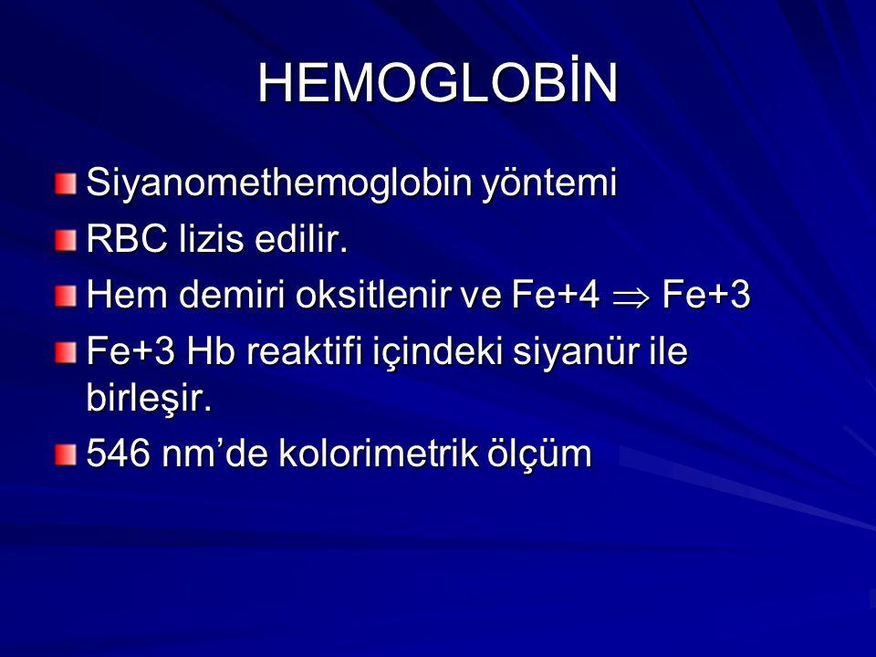 HEMOGLOBİN Siyanomethemoglobin yöntemi RBC lizis edilir.