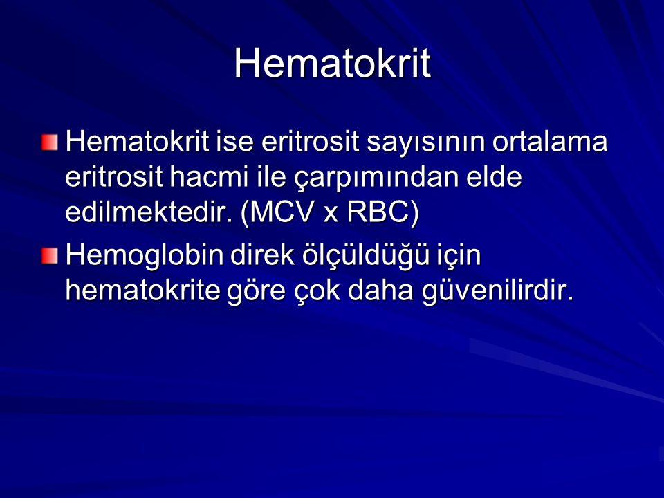 Hematokrit Hematokrit ise eritrosit sayısının ortalama eritrosit hacmi ile çarpımından elde edilmektedir. (MCV x RBC)
