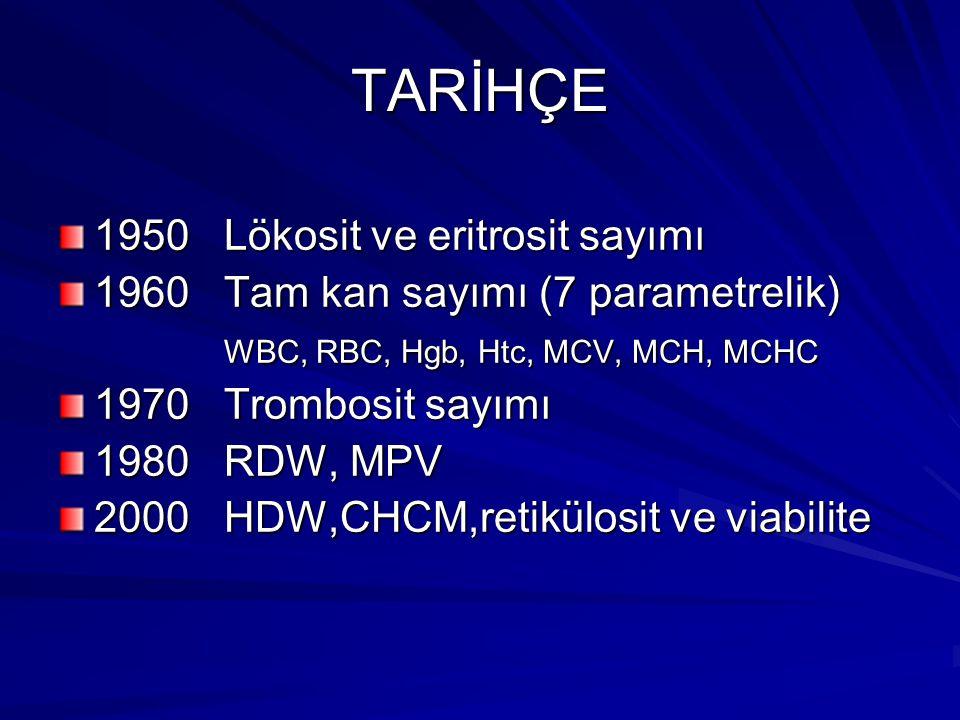 TARİHÇE 1950 Lökosit ve eritrosit sayımı