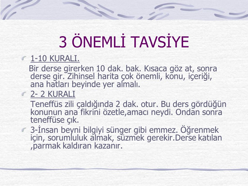 3 ÖNEMLİ TAVSİYE 1-10 KURALI.