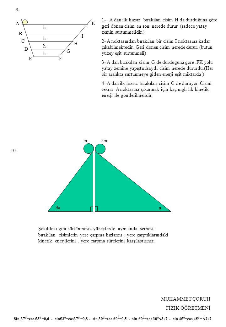 9- 1- A dan ilk hızsız bırakılan cisim H da durduğuna göre geri dönen cisim en son nerede durur. (sadece yatay zemin sürtünmelidir.)
