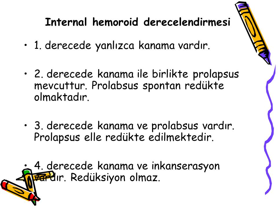 Internal hemoroid derecelendirmesi