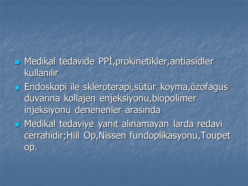 Medikal tedavide PPİ,prokinetikler,antiasidler kullanılır