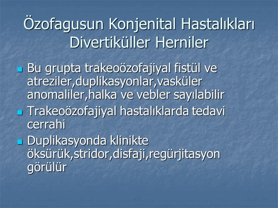 Özofagusun Konjenital Hastalıkları Divertiküller Herniler