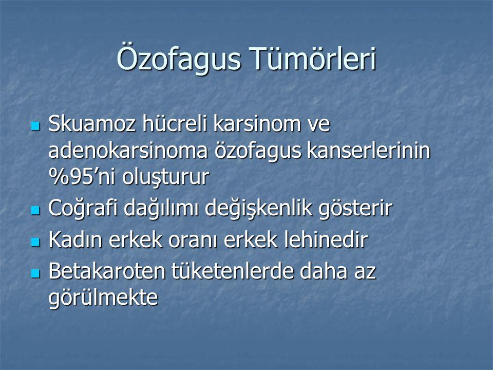 Özofagus Tümörleri Skuamoz hücreli karsinom ve adenokarsinoma özofagus kanserlerinin %95'ni oluşturur.