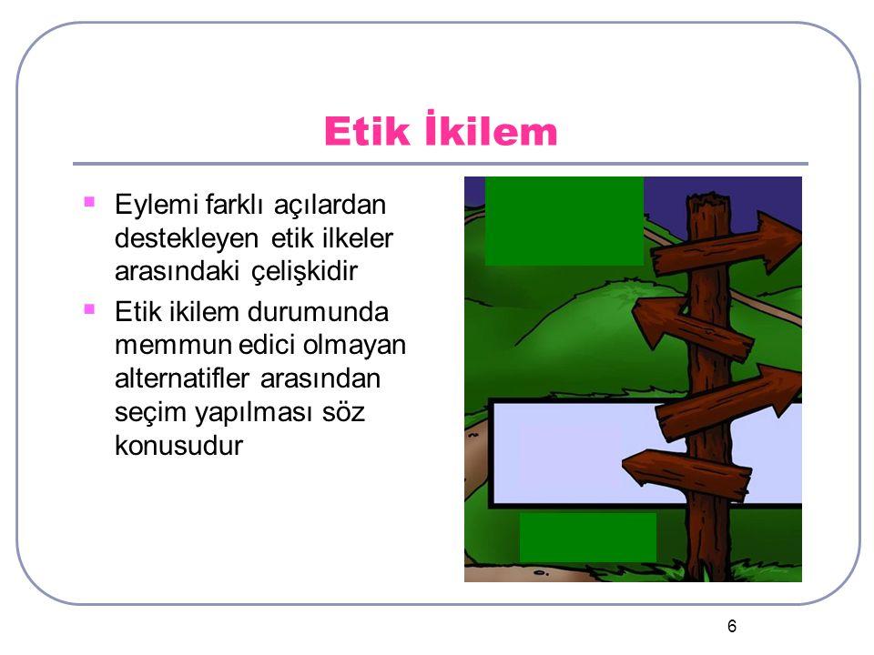 Etik İkilem Eylemi farklı açılardan destekleyen etik ilkeler arasındaki çelişkidir.