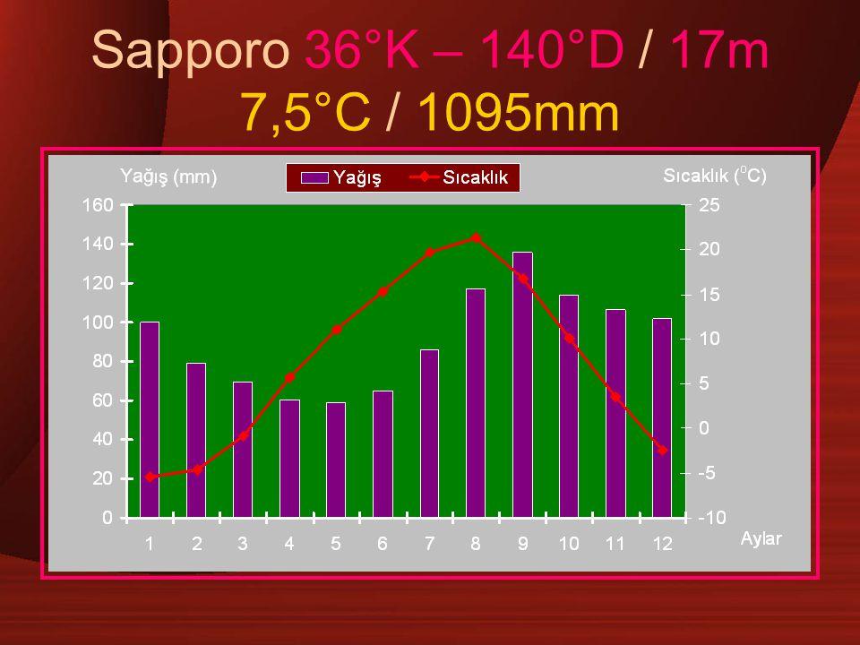 Sapporo 36°K – 140°D / 17m 7,5°C / 1095mm