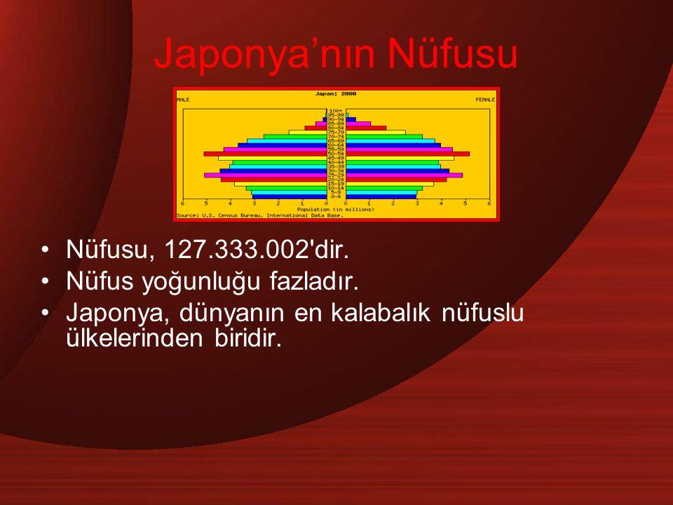 Japonya'nın Nüfusu Nüfusu, 127.333.002 dir. Nüfus yoğunluğu fazladır.