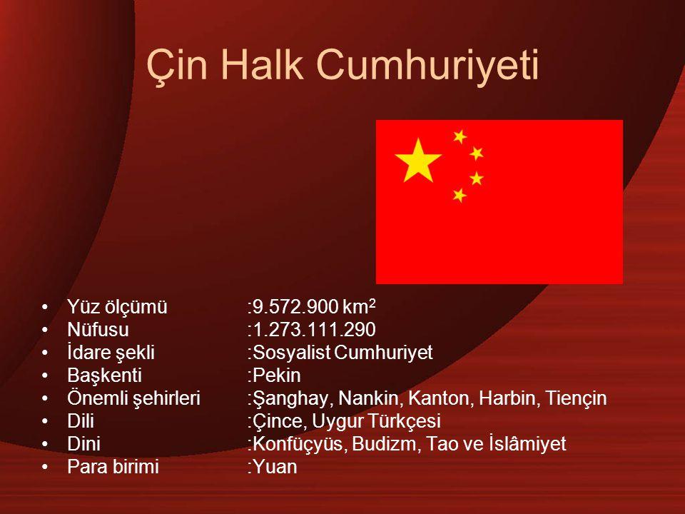 Çin Halk Cumhuriyeti Yüz ölçümü :9.572.900 km2 Nüfusu :1.273.111.290