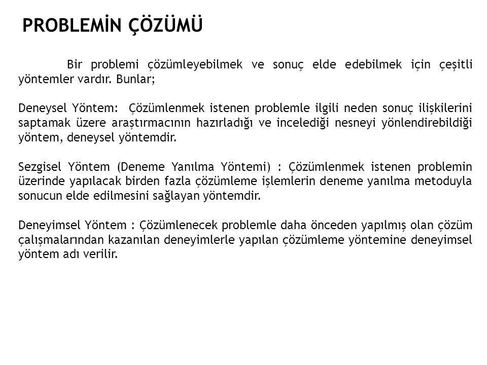 PROBLEMİn çözümü Bir problemi çözümleyebilmek ve sonuç elde edebilmek için çeşitli yöntemler vardır. Bunlar;