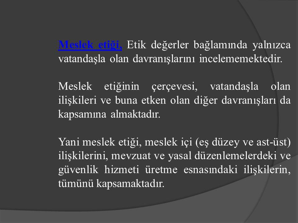 Meslek etiği, Etik değerler bağlamında yalnızca vatandaşla olan davranışlarını incelememektedir.