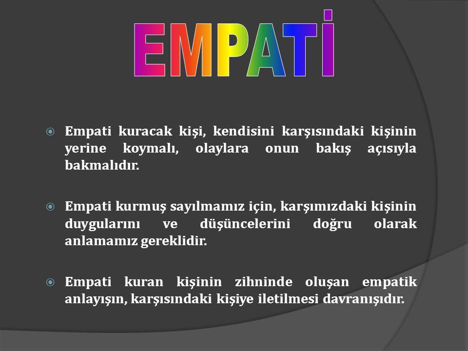 EMPATİ Empati kuracak kişi, kendisini karşısındaki kişinin yerine koymalı, olaylara onun bakış açısıyla bakmalıdır.
