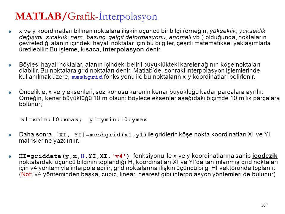 MATLAB/Grafik-İnterpolasyon