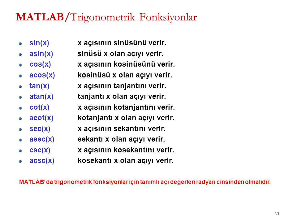 MATLAB/Trigonometrik Fonksiyonlar