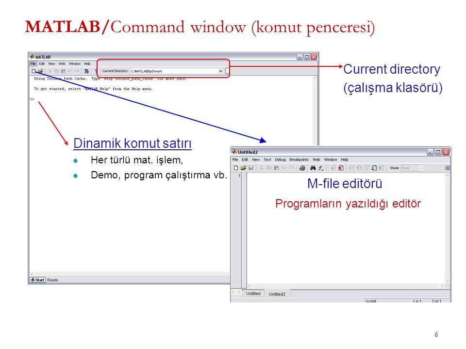 MATLAB/Command window (komut penceresi)