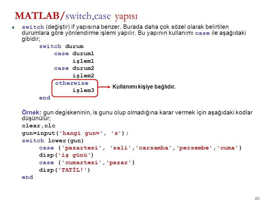 MATLAB/switch,case yapısı