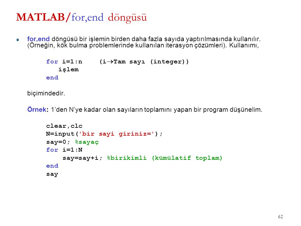 MATLAB/for,end döngüsü