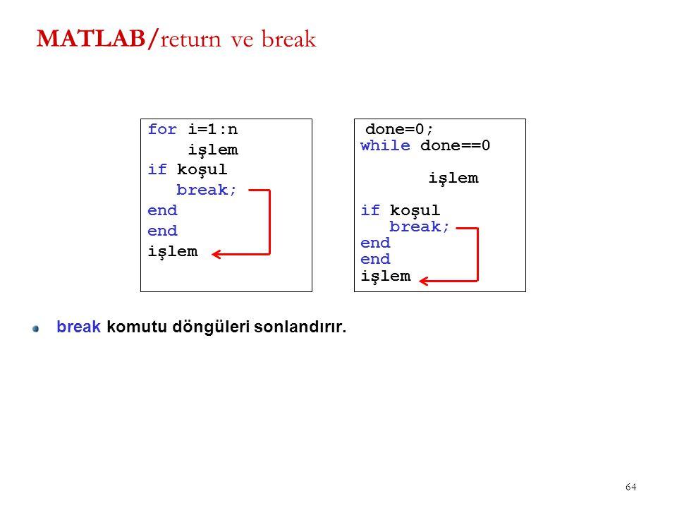 MATLAB/return ve break