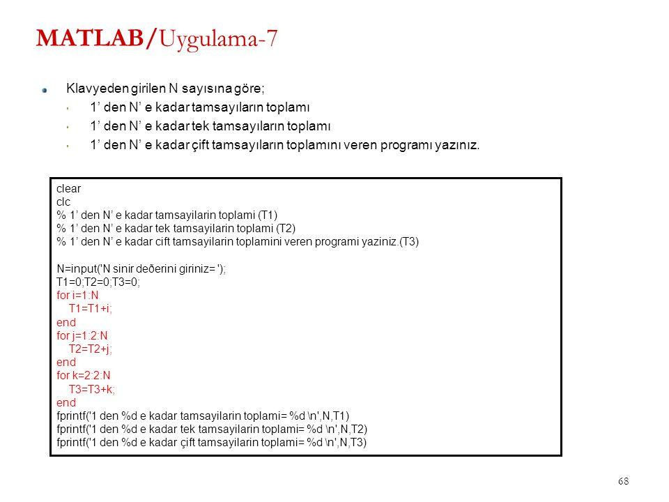 MATLAB/Uygulama-7 Klavyeden girilen N sayısına göre;
