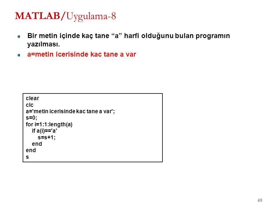 MATLAB/Uygulama-8 Bir metin içinde kaç tane a harfi olduğunu bulan programın yazılması. a=metin icerisinde kac tane a var.