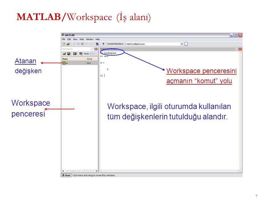 MATLAB/Workspace (İş alanı)