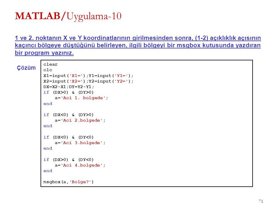 MATLAB/Uygulama-10 1 ve 2. noktanın X ve Y koordinatlarının girilmesinden sonra, (1-2) açıklıklık açısının.