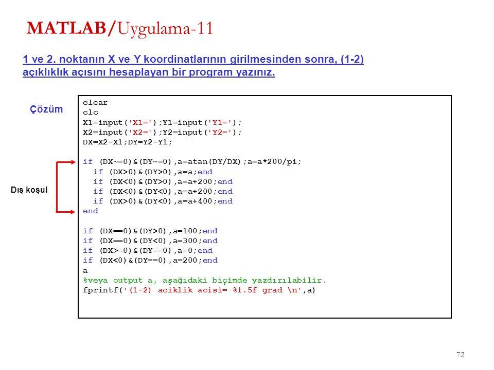 MATLAB/Uygulama-11 1 ve 2. noktanın X ve Y koordinatlarının girilmesinden sonra, (1-2) açıklıklık açısını hesaplayan bir program yazınız.