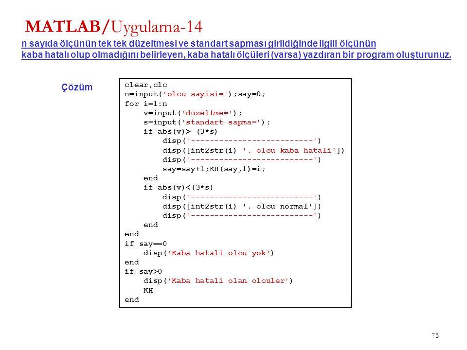 MATLAB/Uygulama-14 n sayıda ölçünün tek tek düzeltmesi ve standart sapması girildiğinde ilgili ölçünün.