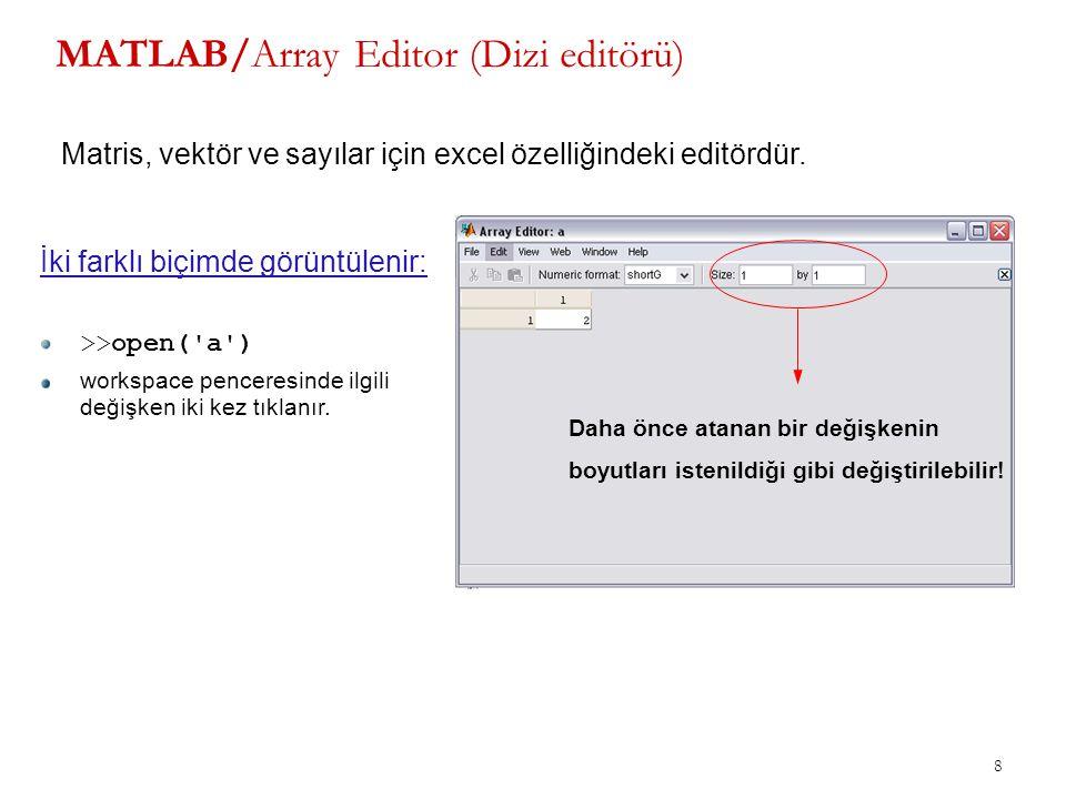 MATLAB/Array Editor (Dizi editörü)