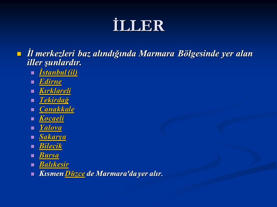 İLLER İl merkezleri baz alındığında Marmara Bölgesinde yer alan iller şunlardır. İstanbul (il) Edirne.