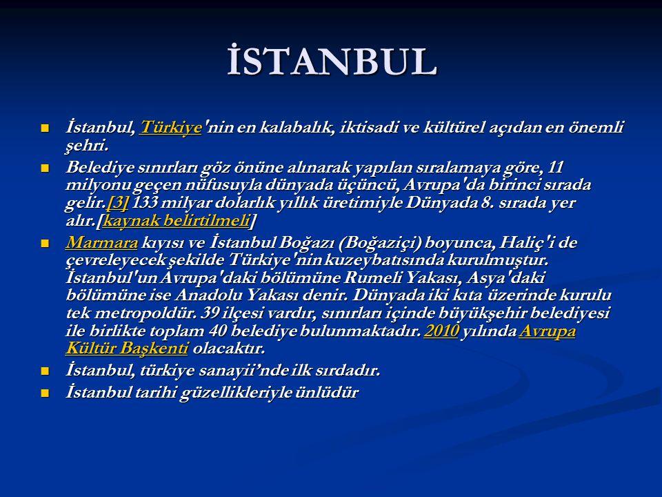 İSTANBUL İstanbul, Türkiye nin en kalabalık, iktisadi ve kültürel açıdan en önemli şehri.