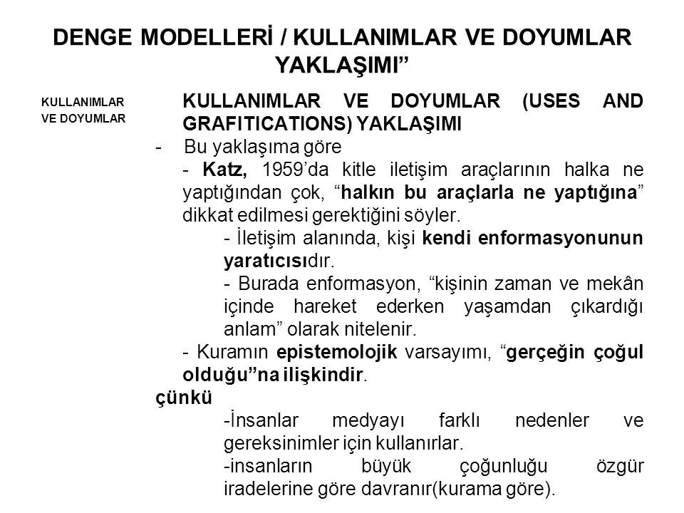 DENGE MODELLERİ / KULLANIMLAR VE DOYUMLAR YAKLAŞIMI