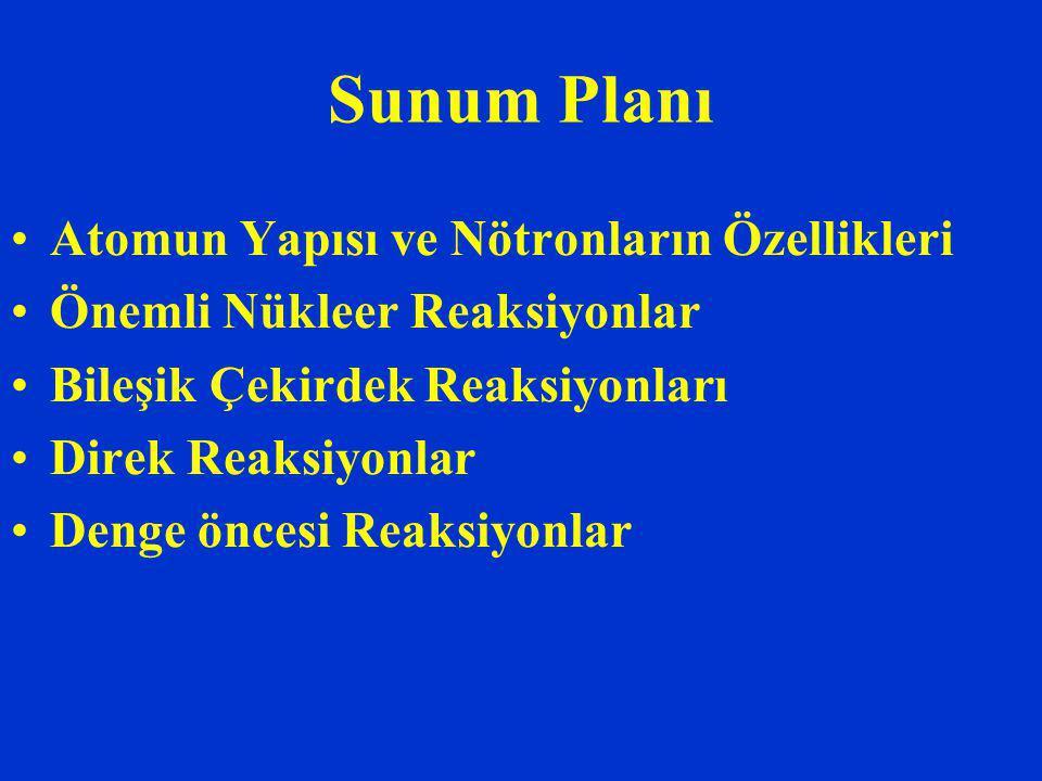 Sunum Planı Atomun Yapısı ve Nötronların Özellikleri