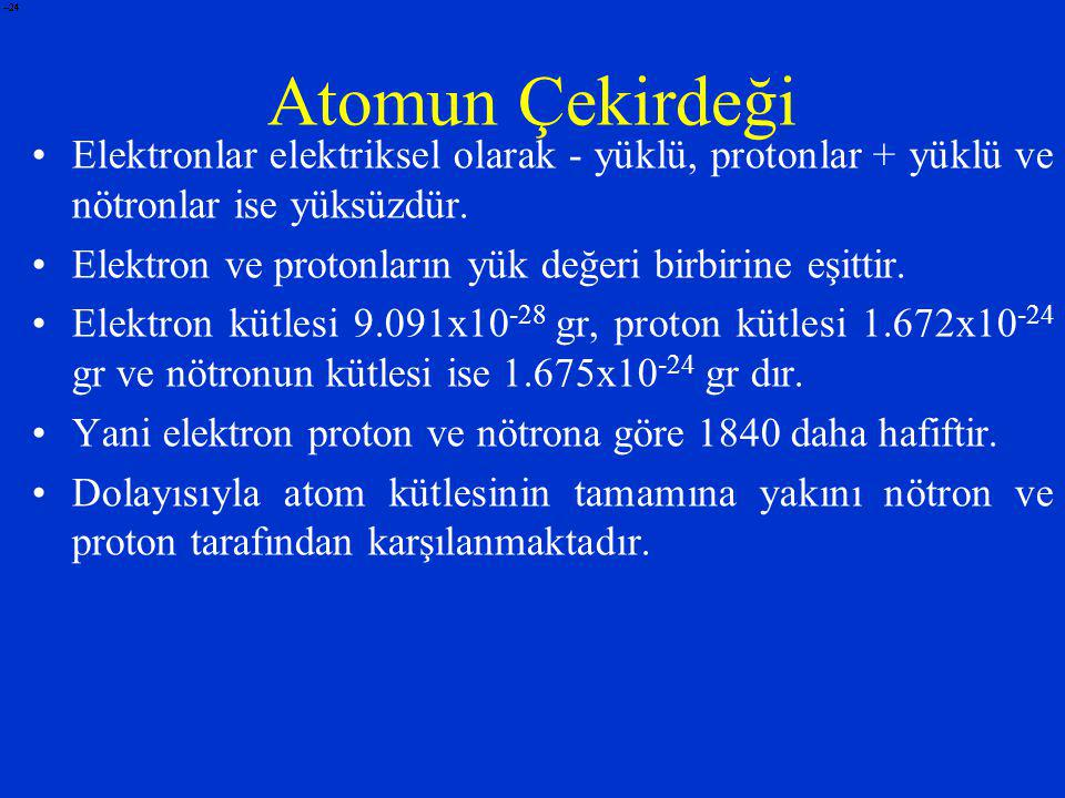Atomun Çekirdeği Elektronlar elektriksel olarak - yüklü, protonlar + yüklü ve nötronlar ise yüksüzdür.
