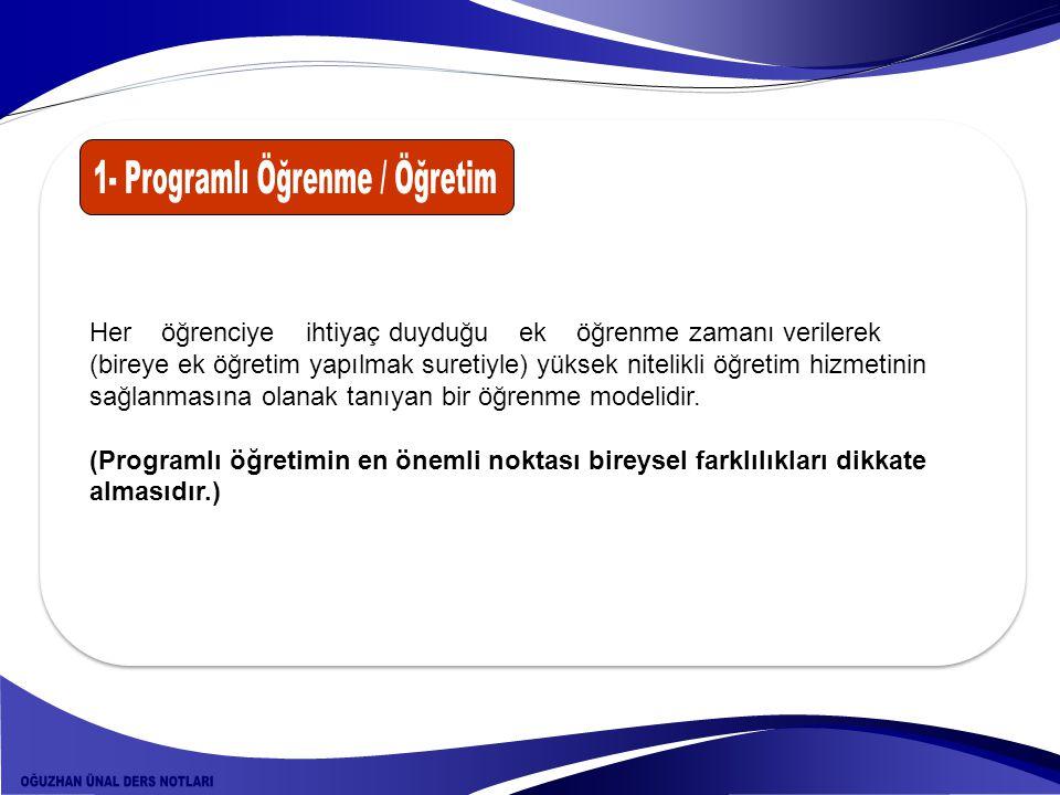 1- Programlı Öğrenme / Öğretim