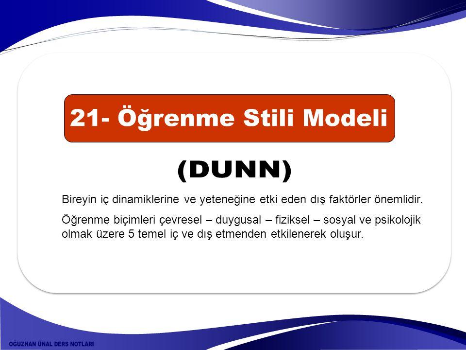 21- Öğrenme Stili Modeli (DUNN)