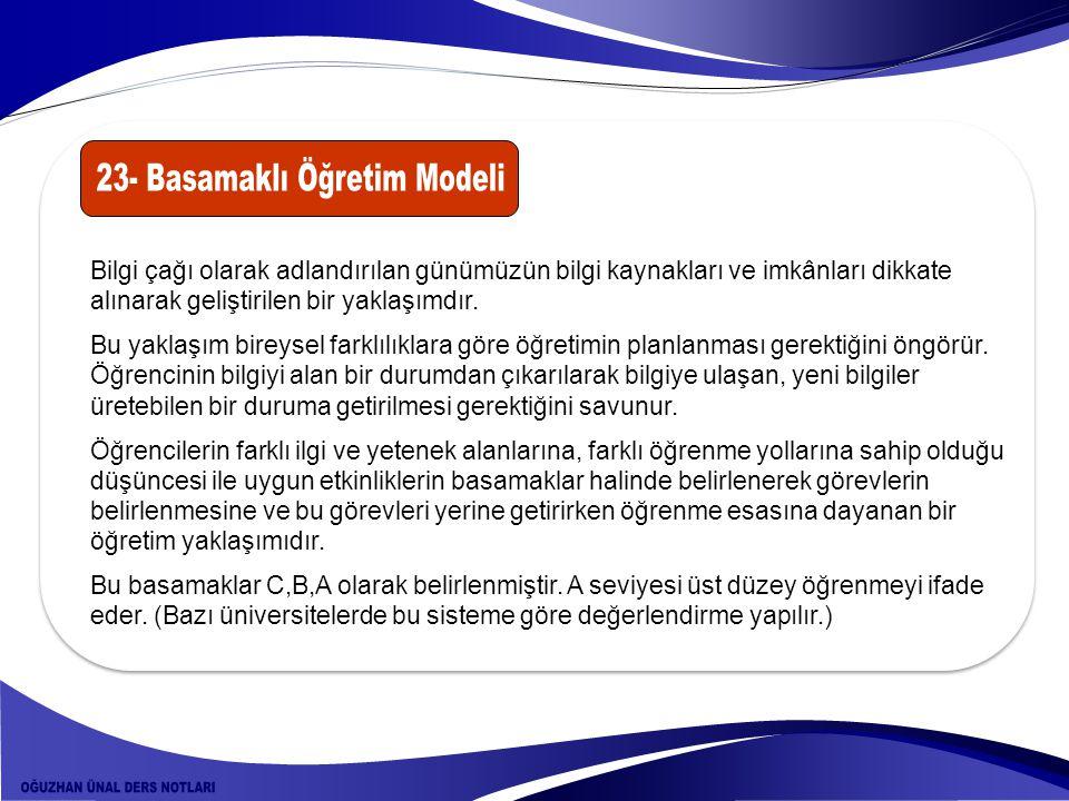 23- Basamaklı Öğretim Modeli