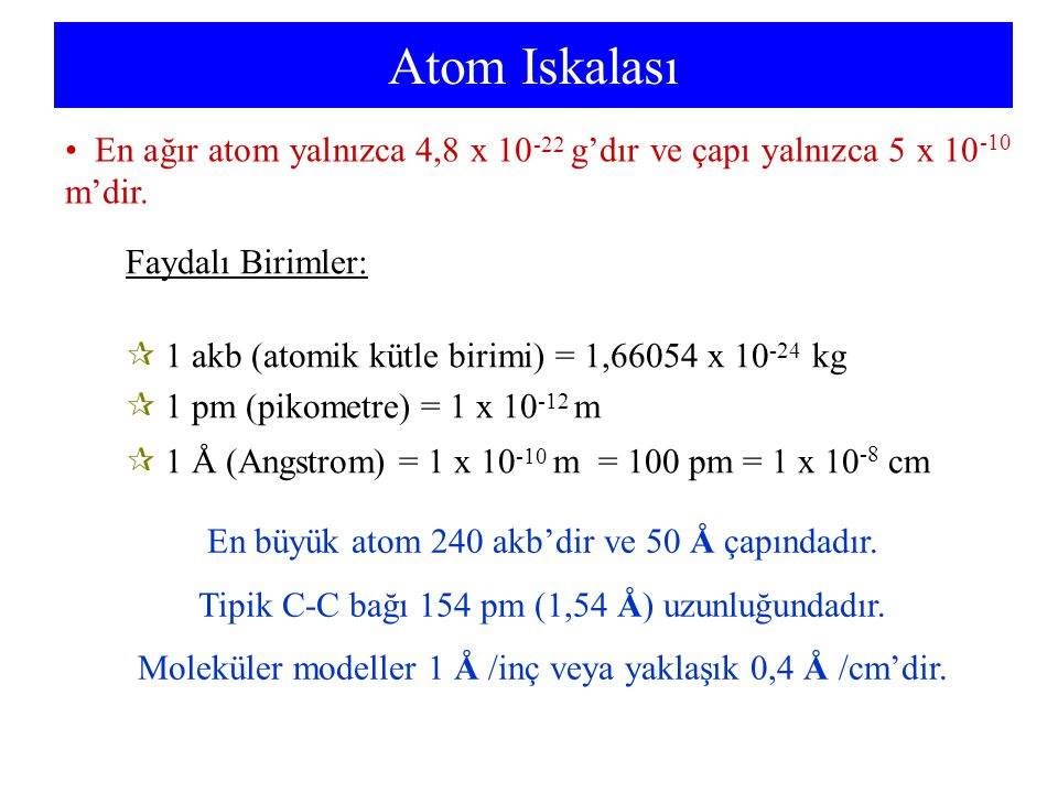 Atom Iskalası En ağır atom yalnızca 4,8 x 10-22 g'dır ve çapı yalnızca 5 x 10-10 m'dir. Faydalı Birimler: