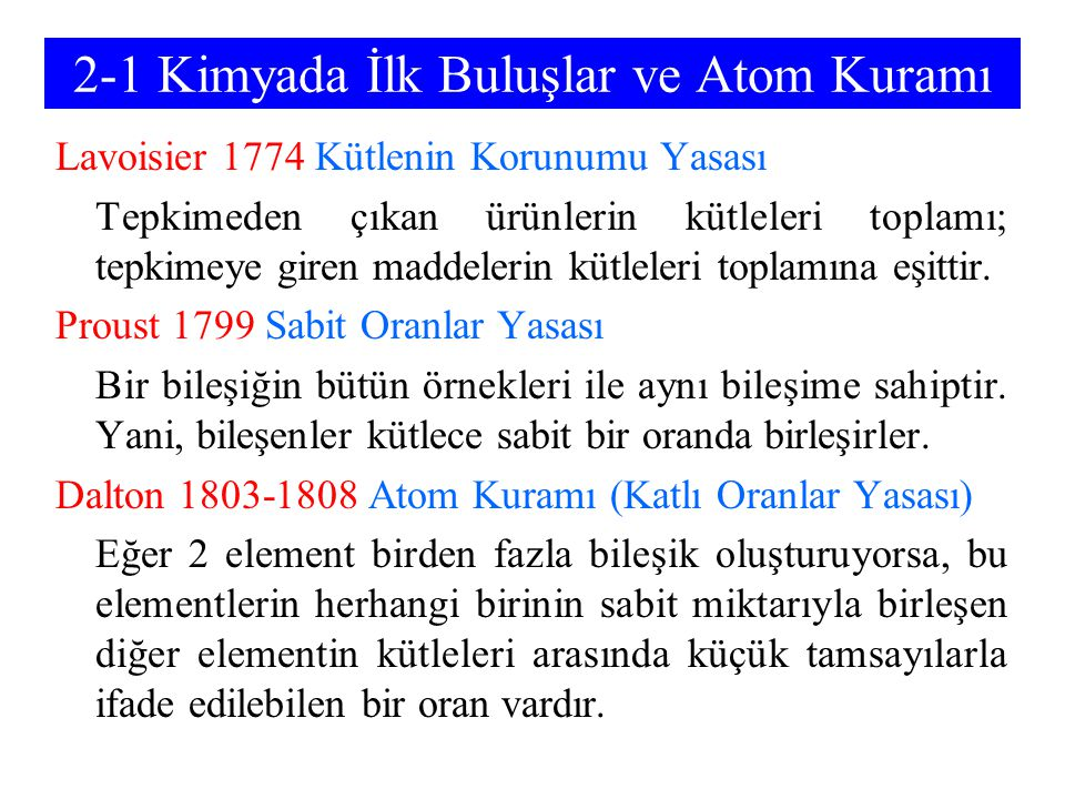 2-1 Kimyada İlk Buluşlar ve Atom Kuramı
