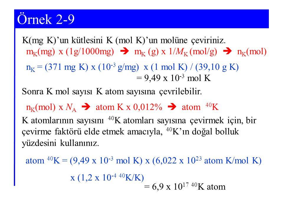 Örnek 2-9 K(mg K)'un kütlesini K (mol K)'un molüne çeviriniz.