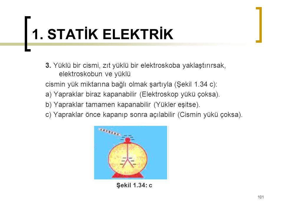 1. STATİK ELEKTRİK 3. Yüklü bir cismi, zıt yüklü bir elektroskoba yaklaştırırsak, elektroskobun ve yüklü.