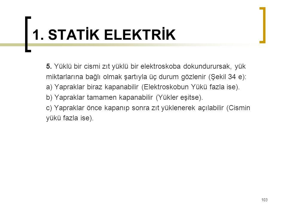 1. STATİK ELEKTRİK 5. Yüklü bir cismi zıt yüklü bir elektroskoba dokundurursak, yük.